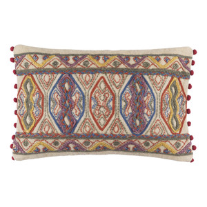 As Shown: Boho Chic Spirit Pillow - MR-005 Size: 14 x 22 inches Material: Cotton  Description: The essence of boho chic design finds enthusiastic expression in this embroidered cotton lumbar pillow, handmade in India. The red bobble fringe bookends a mosaic-like swirl of blues, greens, butter yellows and purples that complement your contemporary interior, or provide a hint of the exotic to your modern one.