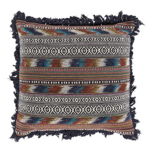 As Shown: Boho Chic Wanderlust Pillow - MR-006 Size: 20 x 20 inches Material: Polyester  Description: Open that invitation to travel the globe seeking adventure. Or run away to the wild envisioned by this pillow's variegated pattern and frisky fringe. With hues of earthy browns, blues and ochers, and a removable feather and down inner, this pillow beckons.