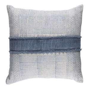 As Shown: Hmong Choj Pillow - LL-003 Size: 30 x 30 inches Material: Cotton  Description: This pillow combines Hmong batik inspired textile design with the traditional craftsmanship of Indian artisans. The fringed bridge of faded indigo encompasses this cotton pillow with removable feather and down inner. In throw and lumbar sizes for ethnic flair in formal or casual spaces.