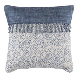 As Shown: Hmong Moos Pillow - LL-005 Size: 20 x 20 inches Material: Cotton  Description: Like clockwork, the filigreed pattern of this cotton pillow, handmade in India, marches along. A goose feather and down inner fits neatly inside the cotton exterior, banded by faded indigo and accented with fringe. While away the hours against this comfortable cushion.