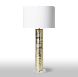 As Shown: Glamour Table Lamp Size: 15 diameter x 31.5 H inches Material: Ceramic Color: Gold Shade: Silk Shade Color: White  Description: The glint of gold or silver in this ceramic lamp banishes the boring, while the gold-lined white silk shade keep the effect sophisticated and alluring. You'll form an instant attachment to the radiance and shine.