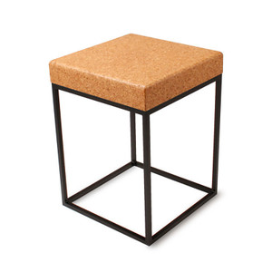 As Shown: Nimbus Cork Side Table Size: 16 x 16 x 22 H inches Material: Sustainable Cork, Powdercoated Steel Finish: Natural Coarse, Black Description: