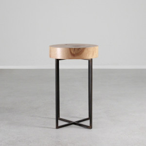As Shown: Tahoe Park Side Table Size: 13.5 dia x 22 H inches (each is unique, please allow for variation) Material: Maple, Steel Finish: Natural, Bronze Topcoat: Sealed Topcoat