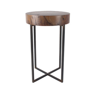 As Shown: Lake Park Side Table Size: 13.5 dia x 22 H inches (each is unique, please allow for variation) Material: Black Walnut, Steel Finish: Natural, Bronze Topcoat: Sealed Topcoat
