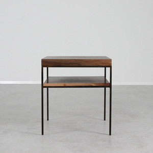 As Shown: Serrano End Table Size: 20 x 20 x 22 H inches Material: Black Walnut, Steel Finish: Natural, Bronze Topcoat: Sealed Topcoat