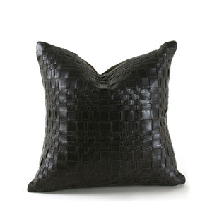 As Shown: Vespa Woven Leather Pillow Size: 16 x 16 inches  Material: Leather Color: Espresso Brown
