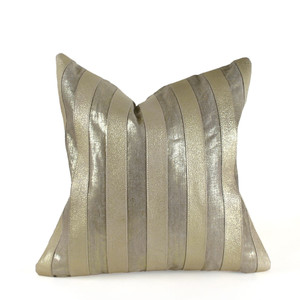 As Shown: Palm Beach Pillow Size: 18 x 18 inches Material: Leather, Linen   Color: Gold
