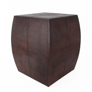 As Shown: Piccadilly Club Leather End Table Size: 16 x 16 x 22 H inches Material: Leather  Color: Chocolate Brown  Description: When we designed this table, we had the rich leathers and powerful men of a London's gentlemen's club in mind. Thus, the Regency Leather End Table was born, exclusive to Pfeifer Studio. Relax and enjoy the luxury and distinctive styling of this table; you've now joined the rarefied ranks of those who mix with the upper crust.