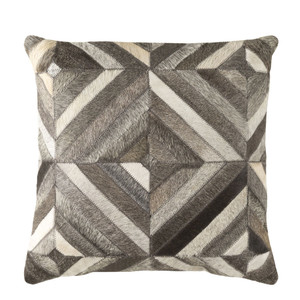 As Shown: Cowhide Pillow 1 Size: 18 x 18 inches Material: Hair-On Cowhide  Description: Precision and an eye for detail mark the symmetrical geometry of this hair-on cowhide pillow, handmade in India. Shades of white, grey and black form an almost hypnotic, and absolutely touchable, custom cushion to rest against.
