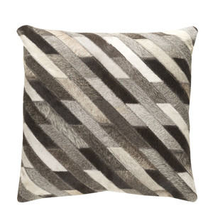 As Shown: Cowhide Pillow 1 Size: 18 x 18 inches Material: Hair-On Cowhide  Description: A play on grey, the Diagonalo Hide Pillow is handmade by artisans in India. They stitch together hair-on cowhide strips to create a striking throw pillow with the perfect play of dark and light, rustic and tailored.