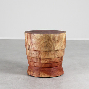 As Shown: Bernalillo Stool Table Size: 18 dia x 18 H inches Finish: Natural Topcoat: Oiled Finish