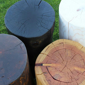 As Shown: Pino Grande Outdoor Log Tables Finish: Coffee Brown, Midnight Black, Natural and White Wash