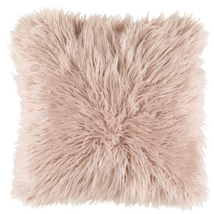 Boudoir Faux Fur Pillow - KHR-005 Size: 18 x 18 inches Material: Acrylic Polyester Blend in Pink  Description: Throw in some 70's style with a long hair faux fur pillow. A groovy addition to your dynamite pad in neutrals or the perfect princess-phone pink.