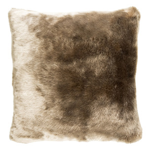 Tan Faux Fur Pillow - IU-001 Size: 18 x 18 inches Material: Acrylic   Description: Lounge on a lush, glossy short-pile faux fur pillow in lovely frosted tan. It feels as great as it looks and adds a textured dimension when tossed into minimal or traditional spaces.