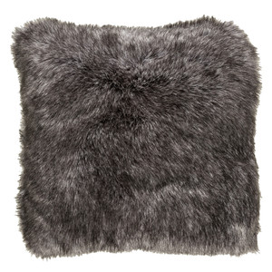 Charcoal Faux Fur Pillow - AN-001 Size: 18 x 18 inches Material: Acrylic   Description: Lounge on a lush, glossy short-pile faux fur pillow in classic charcoal grey. It feels as great as it looks and adds a textured dimension when tossed into minimal or traditional spaces.