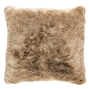 As Shown: Camel Faux Fur Pillow - OS-001 Size: 18 x 18 inches Material: Acrylic   Description: Lounge on a lush, glossy short-pile faux fur pillow in classic golden camel. It feels as great as it looks and adds a textured dimension when tossed into minimal or traditional spaces.