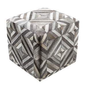 As Shown: Geometrik Hide Pouf - LCPF-001 Size: 18 x 18 x 18 H inches Material: Hair-On Cowhide  Description: Precision and an eye for detail mark the symmetrical geometry of this hair-on cowhide pouf. Shades of white, grey and black form an almost hypnotic, and absolutely touchable, custom piece to sit upon or rest against. By hand artisans seam a patchwork of hair-on cowhide over an upholstered body. Each is individual to you, please allow for variation in color and markings.