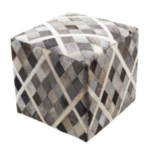 As Shown: Hair-On Harlequin Pouf - LCPF-004 Size: 18 x 18 x 18 H inches Material: Hair-On Cowhide  Description: Playful and with a hint of fancy, a diamond pattern in creams, browns and greys creates a touchable, neutral accent in a hair-on cowhide pouf. By hand artisans seam a patchwork of hair-on cowhide over an upholstered body. Each is individual to you, please allow for variation in color and markings.