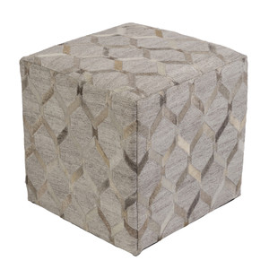 As Shown: Lattice Hide Pouf - MDPF-003 Size: 18 x 18 x 18 H inches Material: Hair-On Cowhide  Description: Neutral tones weave their way around this hair-on cowhide pouf in a classic lattice pattern that adds a touch of elegance and intrigue to any décor. By hand artisans seam a patchwork of hair-on cowhide over an upholstered body. Each is individual to you, please allow for variation in color and markings.