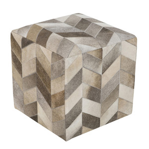 As Shown: Hair-On Harlequin Pouf - POUF-242 Size: 18 x 18 x 18 H inches Material: Hair-On Cowhide  Description: Rich blocks of beige, light grey, ivory and taupe, impart your style with elegant texture in a hair-on cowhide pouf. By hand artisans seam a patchwork of hair-on cowhide over an upholstered body. Each is individual to you, please allow for variation in color and markings.