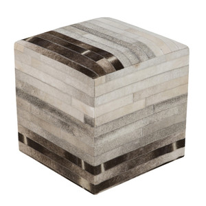 As Shown: Big Sky Hide Pouf - POUF-243 Size: 18 x 18 x 18 H inches Material: Hair-On Cowhide  Description: Light and dark stripes in shades of black, brown and neutral align for streamlined elegance in a hair-on cowhide pouf. By hand artisans seam a patchwork of hair-on cowhide over an upholstered body. Each is individual to you, please allow for variation in color and markings.