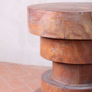 As Shown: Sandoval Stool Table Size: 16 dia x 20 H inches Finish: Weathered Grey Topcoat: Sealed Topcoat