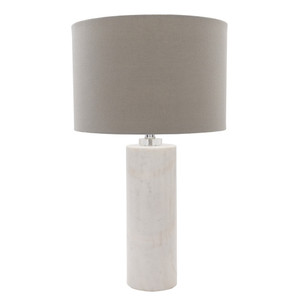 Laffitte Marble Table Lamp - RND-100 Size: 15 dia x 25.5 H inches Material: Marble with Linen Shade  Description: A white marble lamp glows timelessly. It's a piece whose majestic understatement perfectly graces sophisticated chateaus.