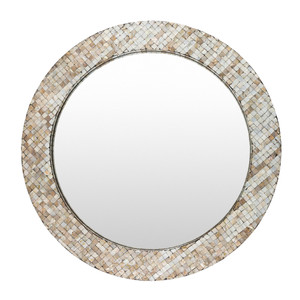 As Shown: Marquesa Mother Of Pearl Mirror - HRN-002 Size: 31.5 dia inches Material: Mother of Pearl  Description: Naturally glamorous mother of pearl inlay glows with pale iridescence in a stunning mirror. By hand artisans arrange mother of pearl pieces, attaching to a wooden frame around clear mirror. Place above your entry console for chic on-your-way-out grooming and a beautiful welcome home.