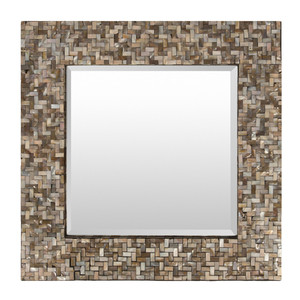 Kiritimati Mother Of Pearl Mirror - OVE-3300 Size: 23.5 x 23.5 inches Material: Mother of Pearl on MDF with Mirror  Description: Naturally glamorous mother of pearl inlay glows with warm iridescence in a stunning mirror. By hand artisans arrange mother of pearl pieces, attaching to a wooden frame around clear mirror. Pair two or three together for dramatic impact.