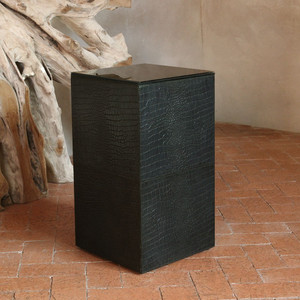 As Shown: Outback Crocodile Leather Cube Size: 12 x 12 x 22.5 H inches Material: Leather Color: Black