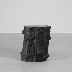 As Shown: Olivo Stump Stool Size: 14 diameter x 18 H inches Material: Fiberglass