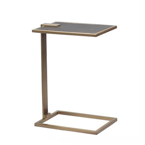 As Shown: Deco Drink Table Size: 10 x 14.5 x 20.5 H inches Material: Steel with Brass Finish, Leather