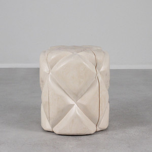 As Shown: Colcha Hand Carved Stool Size: 16 diameter x 18 H inches Finish: White Washed Topcoat: Sealed Topcoat