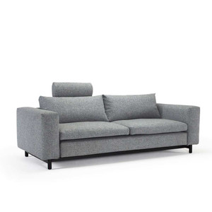 As shown: Magni Convertible Sofa As Shown: Magni Convertibel Sofa Size: 99 x 43 x 29 H inches, Seat 16 H inches Materials: Granite Grey Polyester Finish: Dark stained wood legs