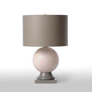 As Shown:  Size: 15 dia x 22 H inches Material: Rubberwood with a light whitewash finish Shade: Grey Painted Parchment   Description: Dense tropical wood from the Pará rubber tree is incorporated into this lovely table lamp for a piece that combines form and function while being environmentally friendly - rubberwood makes use of plantation trees that have already served a useful function. Its soft shadings of grey lend subtle geometry to your decor.