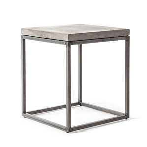As Shown: Perspective Concrete and Steel Side Table Size: 13.75 x 13.75 x 15.75 H inches Material: Concrete and Steel
