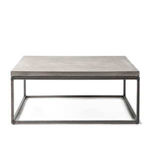 As Shown: Perspective Concrete and Steel Cocktail Table Size: 29.5 x 29.5 x 12 H inches Material: Concrete and Steel