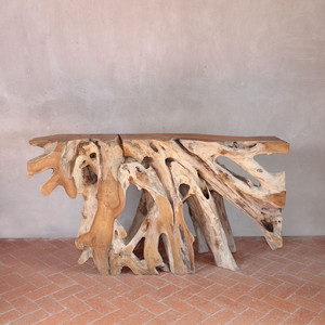 As Shown: Borneo Teak Root Console Table Size: 12-16 W x 60 L x 32 H inches Finish: Natural Topcoat: Oiled Finish