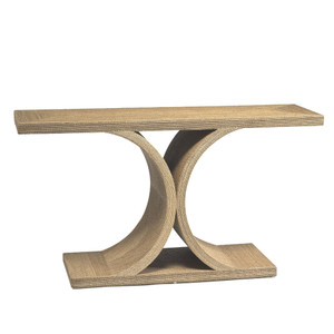 As Shown: Ipanema Console Size: 60 x 18 x 32 H inches Material: Plywood with Rope Veneer Color: Tan  Description: