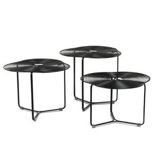 As Shown: À Côté Coffee Tables Size: 19.75 dia x 19 H inches, 19.75 dia x 16.5 H inches and 19.75 dia x 14.25 H inches Material: Powder Coated Iron Wire Finish: Black  Description: