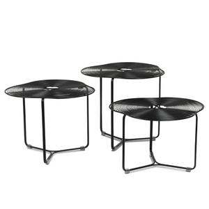 As Shown: À Côté Coffee Tables Size: 19.75 dia x 19 H inches, 19.75 dia x 16.5 H inches and 19.75 dia x 14.25 H inches Material: Powder Coated Iron Wire Finish: Black  Description: