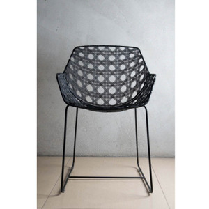As Shown: Octa Arm Chair Size: 21 x 23 x 32.75 H inches, Seat 18.25 H inches Material: Powder coated galvanized iron Finish: Black  Description: