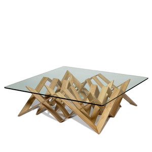 As Shown: Futura Cocktail Table Size: 50 x 50 x 14.5 H inches Material: Wenge Veneer Finish: Natural  Description: