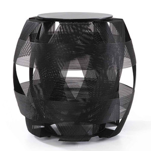 As Shown: Trigono Stool Size: 17.25 dia x 17.75 H inches Material: Powder Coated Iron Wire Finish: Black  Description: