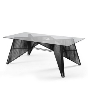 As Shown: Schema Dining Table Base Size: 74 x 43 x 29.5 H inches Material: Powder Coated Iron  Finish: Black