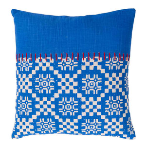 As Shown: Friendly Islands Pillow - DEA-001 Size: 18 x 18 inches Material: Cotton Color: Blue