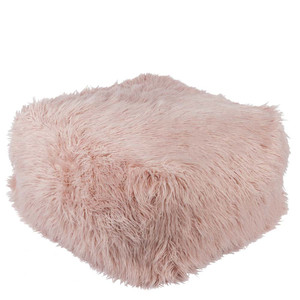 As Shown: Boudoir Faux Fur Pouf - KHPF-004 Size: 24 x 24 x 14 inches Material: Acrylic Polyester Blend in Blush  Description: