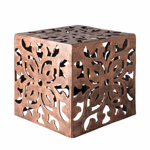 As Shown: Mayan Filigree Table - SWRT-100 Size: 15 x 15 x 15 H inches Material: Aluminum in Metallic Copper
