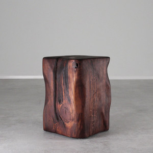 As Shown:  Pecos Natural Edge Side Table  Size: 14.5 x 14.5 x 20 H inches Finish: Mahogany Topcoat: Oiled Finish