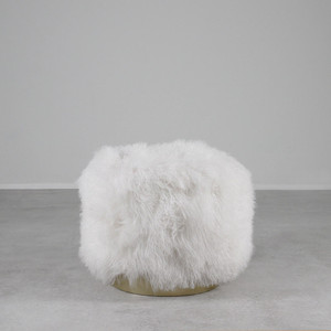 As shown: Ski Lodge Mongolian Stool Dimensions: 20 diameter x 18 H inches Materials: Mongolian Hide Color: White